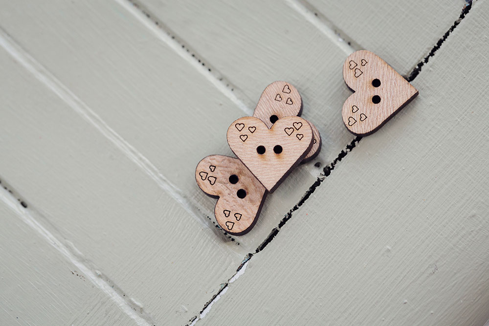 Small Wooden Heart Shaped Button