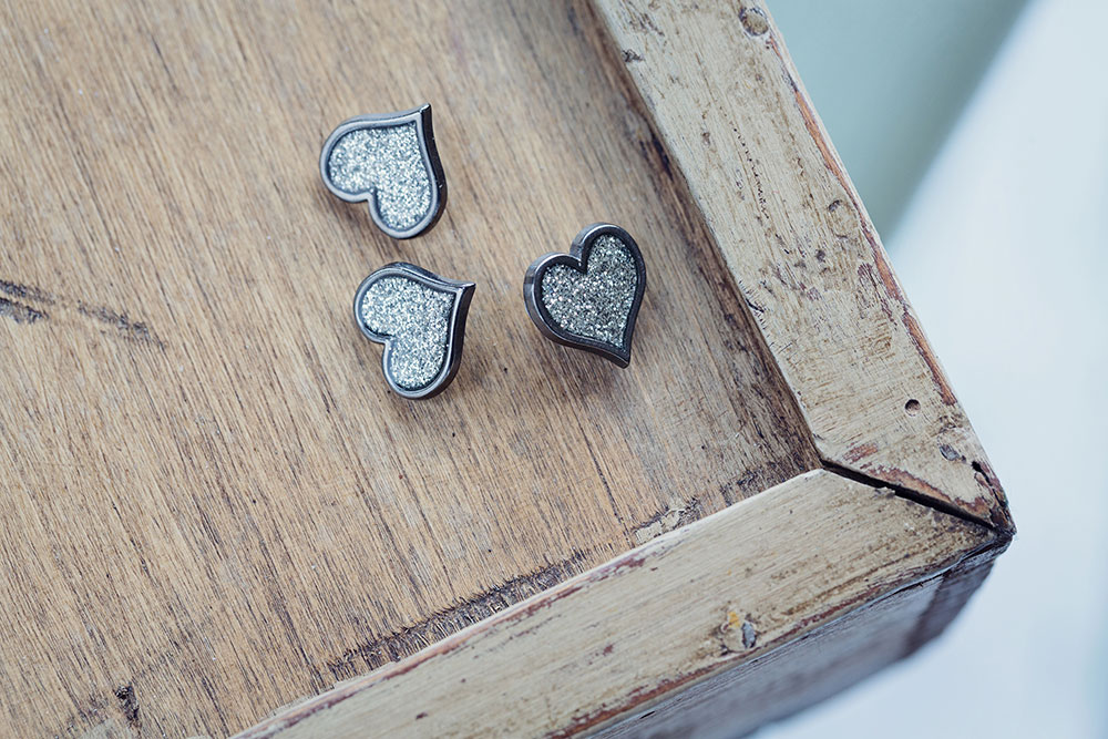 Sparkly Heart Shaped Button